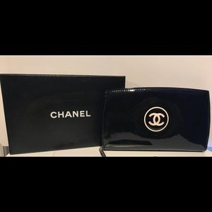 Chanel Patent Leather Long Zip Around Wallet